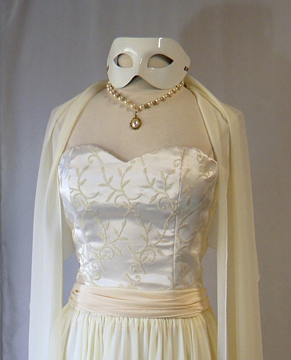 Masquerade Wedding Gown and Accessories Ivory and Gold Chiffon