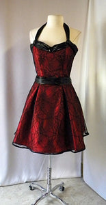 Creepy Spider Semi Formal  Dress Red with Black Spider Lace