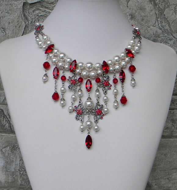 Crystal Harmony White With Red Cascade Necklace