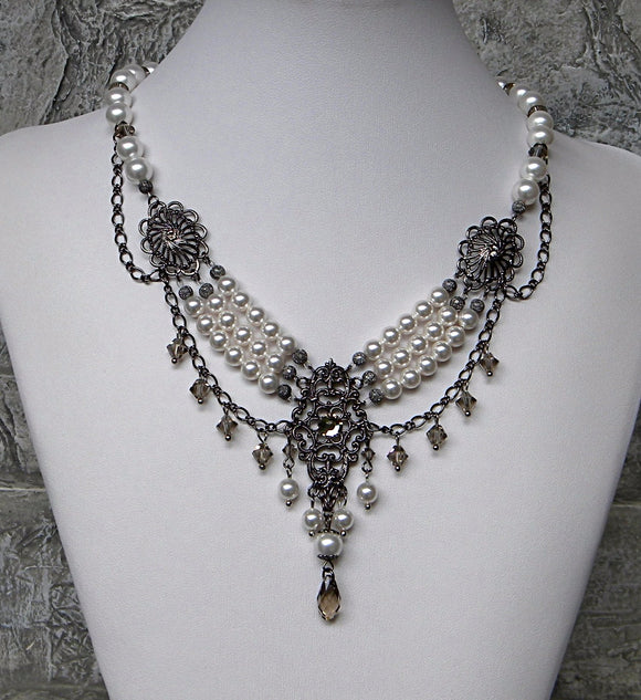 Pearl Elegance Crystal Contrast Light and Dark Wedding Necklace