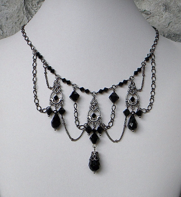 Gunmetal And Black Chandeliers Necklace