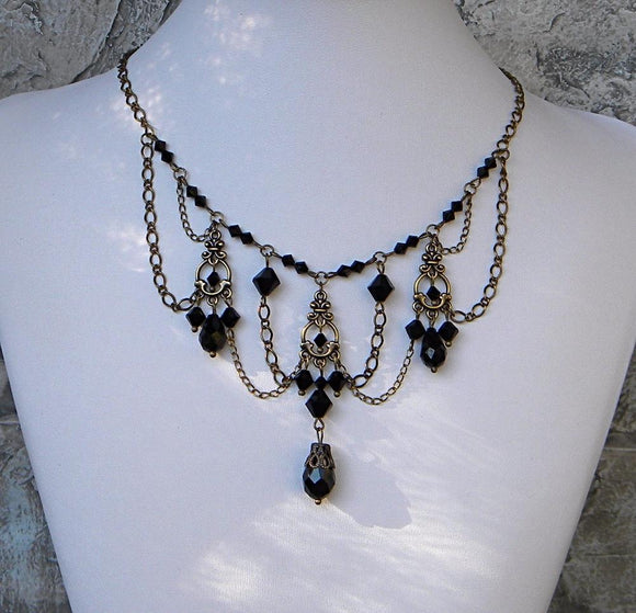 Brass and Black Chandelier Necklace