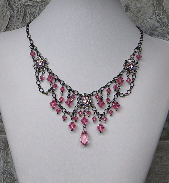 Dainty Crystal Rose and Gunmetal Necklace