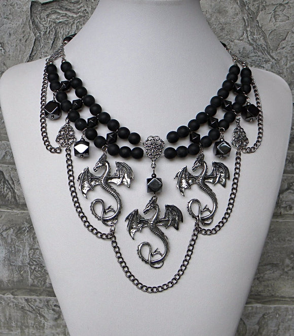 Black Dragon Lady Pewter Silver Necklace