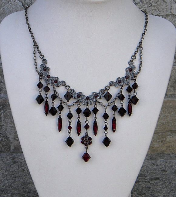 Garnet Crystals Dangle Rhinestones Falls Necklace