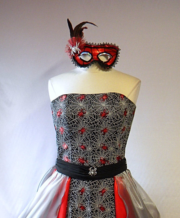 Goth Girl Cobwebs and Spiders Glitter Masquerade Gown with Mask
