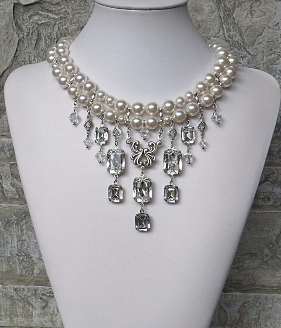 Pearls Clear Crystals Grand Octagon Rhinestone Choker