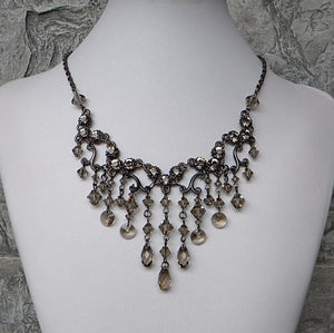 Dark Crystal Necklace Greige Waterfall