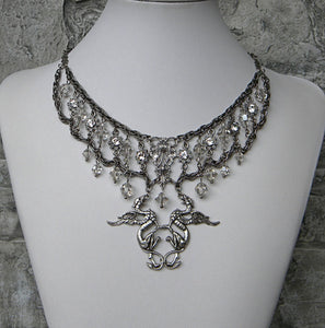 silver griffins and crystal necklace