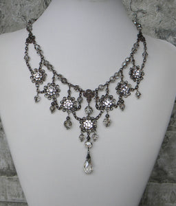Gunmetal In Crystal Satin And Floral Glory Necklace