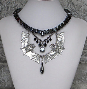 Heavy Hematite With Pewter Bats Necklace