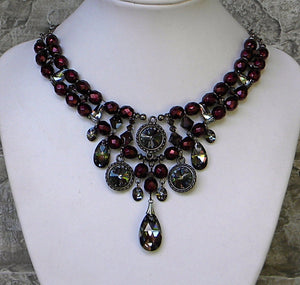 Garnet and Silvernight with Rivoli Rhinestones Necklace