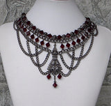 Garnet and Gunmetal Industrial Style Necklace