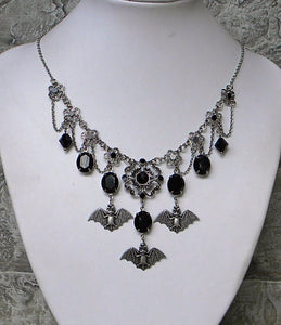 Halloween Necklace, Bat Charm Dangles and Black Rhinestones