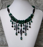 Emerald with Black Rhinestone Falls Necklace