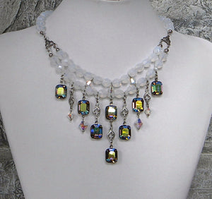 opal rhinestone jewel necklace