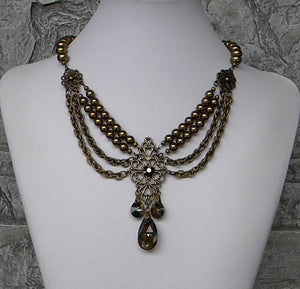 brass bronze crystal pearl necklace