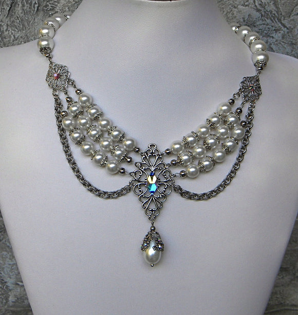 Pearl And Borealis Wedding Elegance Necklace
