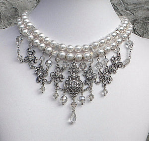 White and Silvershade Bride, Pearls, Crystals in Harmony Choker