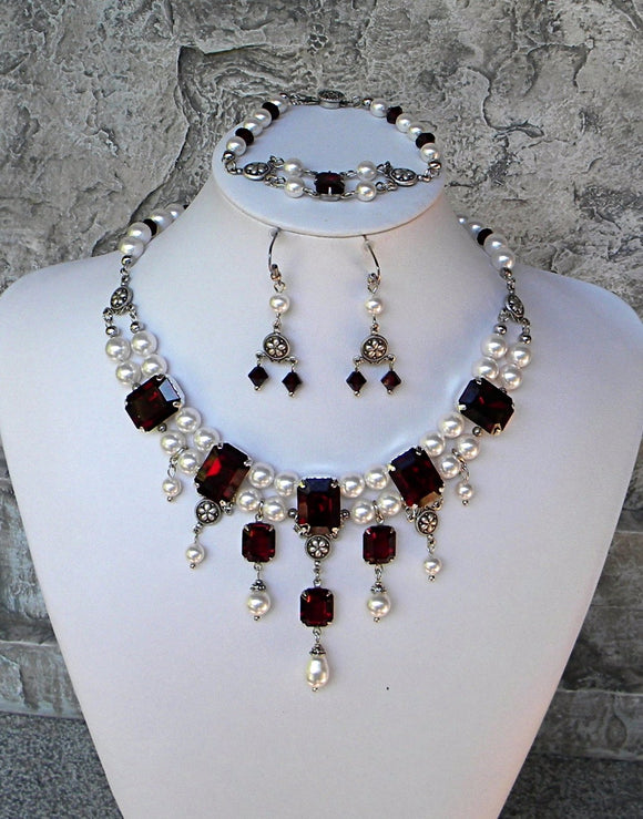 White Pearl And Garnet Grand Necklace, Bracelet, and Earring Set