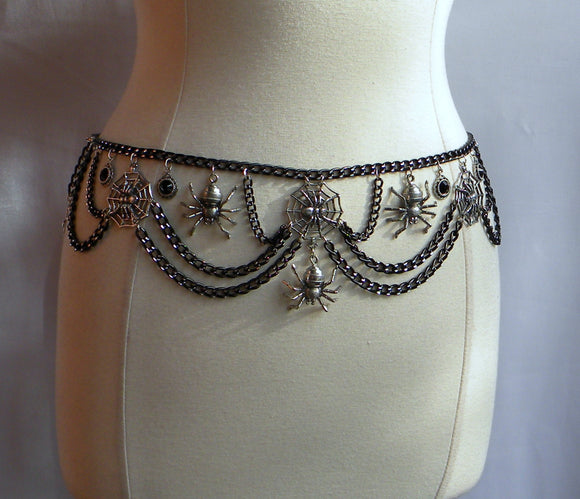 silver spiders chain belt
