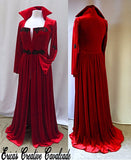 Red Velvet Vampire Long Jacket with Black Appliques Front And Back