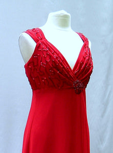 red beaded cocktail dress