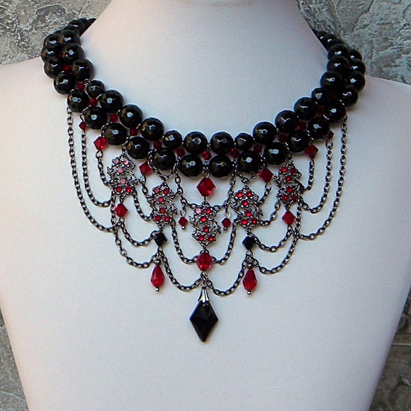 black red gunmetal dark choker