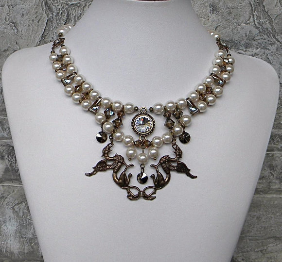 Ivory and Brass With Griffins Necklace