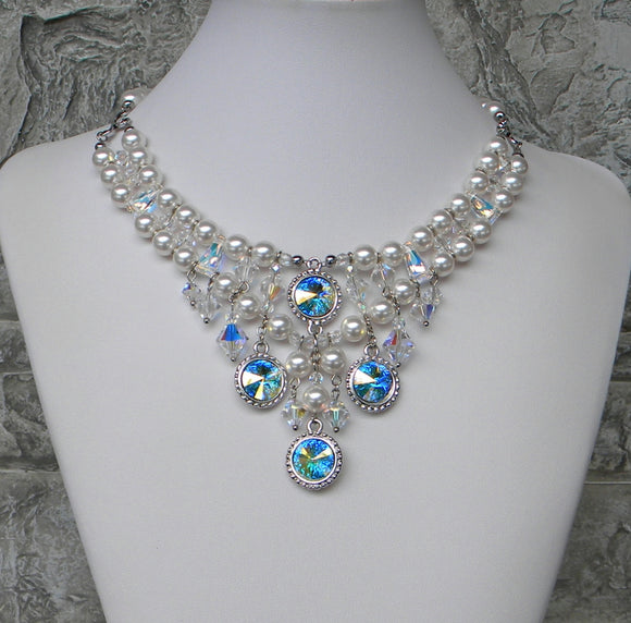 White Pearl And Rivoli Rainbows Necklace