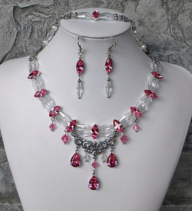Rose and Clear Crystal Necklace, Bracelet and Earrings Set
