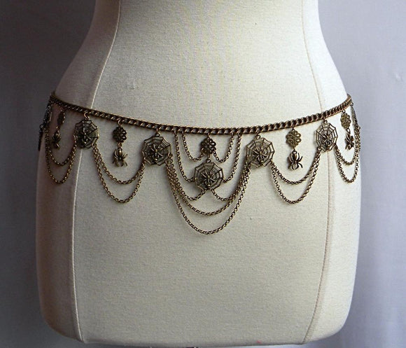 Sassy Brass Spider Chain Belt