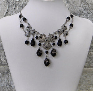 Silver Filigree Black Rhinestones Beads and Drops Necklace