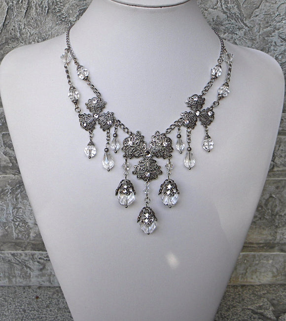 Silver and Crystal Clear Victorian Style Bridal Necklace
