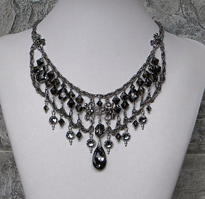 Silvernight Dark Crystal With Rhinestones Evening Soiree Necklace