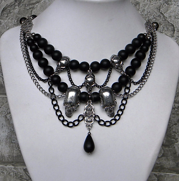 Skulls and Swags Gothic Pewter Black Necklace