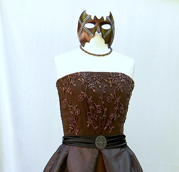 Bronze Beaded Gown With Mask