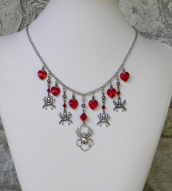 pewter silver spider necklace in red