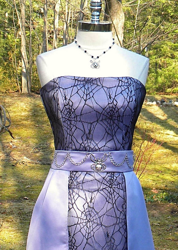 Spider Strapless Dress, Black, Lavender and Metal Embellishment