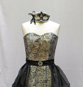 black and silver masquerade gown