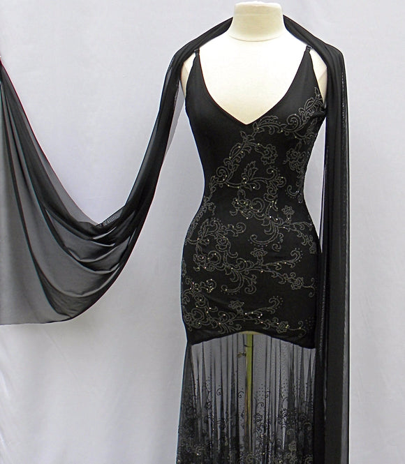 stretch glitter semi sheer mesh black dress