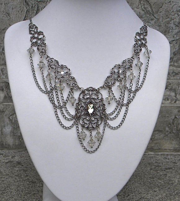 Silver Shade Swirl and Chain Swags Crystal Necklace