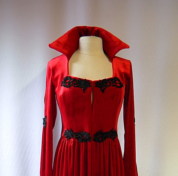 Red Velvet Vampire Jacket with Black Applique