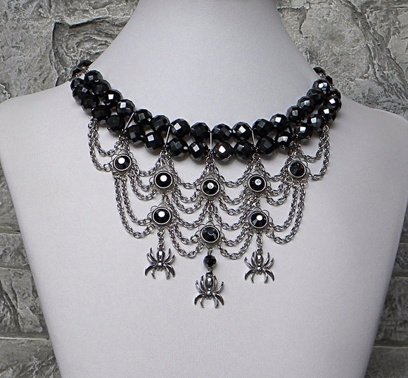 Web Chandeliers Hematite Choker Necklace
