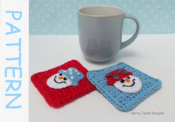 Snowman Coasters Crochet Pattern UK