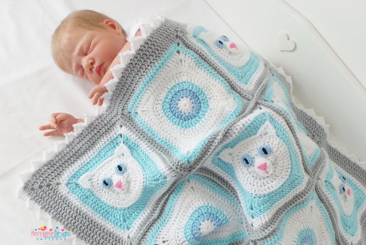 Cat Granny square blanket pattern