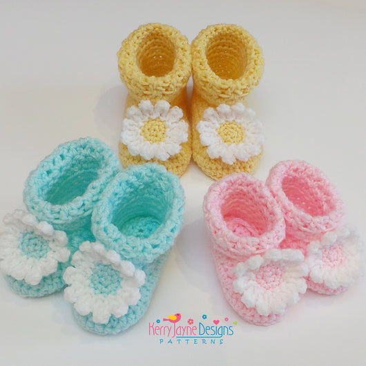 Daisy Booties crochet Pattern UK