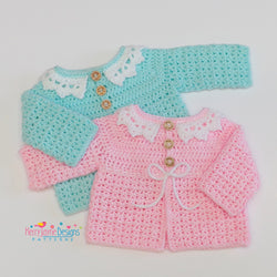 Little collar cardigan crochet pattern