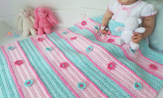 Daisy Stripes Blanket And Hat Pattern Uk Kerry Jayne Designs