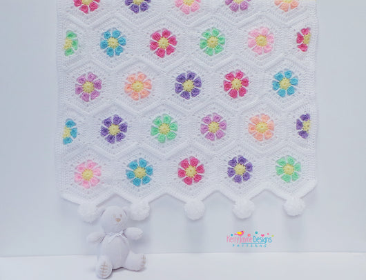 Doris Daisy Hexagon Blanket Pattern USA